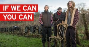 Pictures of Grown Furniture Farmers, Chris, Gavin & and a Grown Chair, standing in their Furniture Field